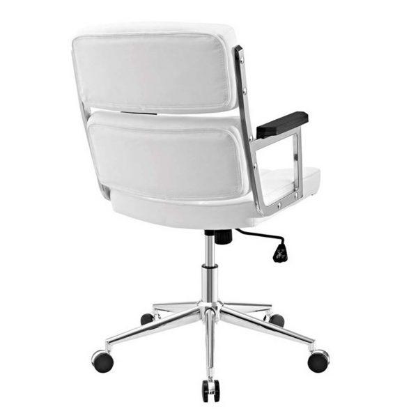 Vista trasera y detalles de los cortes del respaldo del sillon vito blanco