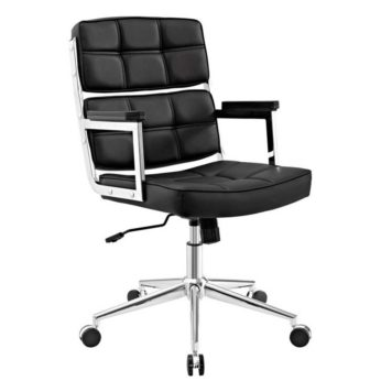 Vista frontal y detalles de costuras en respaldo asiento del sillón vito negro