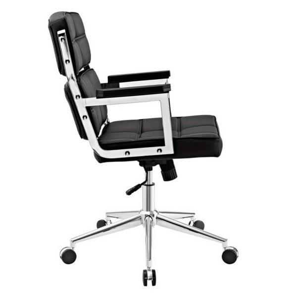 Vista lateral y detalles cromados en respaldo asiento brazos sillon vito negro