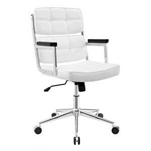 Vista frontal y detalles de costuras en respaldo asiento del sillón vito blanco