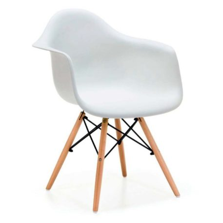 Detalle del asiento con brazos del sillón hércules blanco