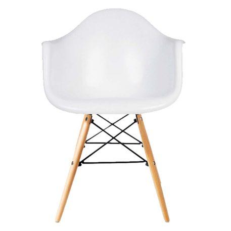 Vista frontal sillon Hércules con brazos base mixta madera metal carcasa asiento blanca