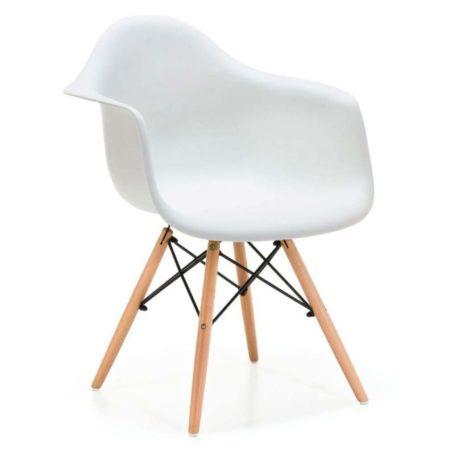 Detalle del asiento con brazos del sillón hercules blanco