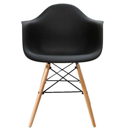 Vista frontal sillon Hércules con brazos base mixta madera metal carcasa asiento negra