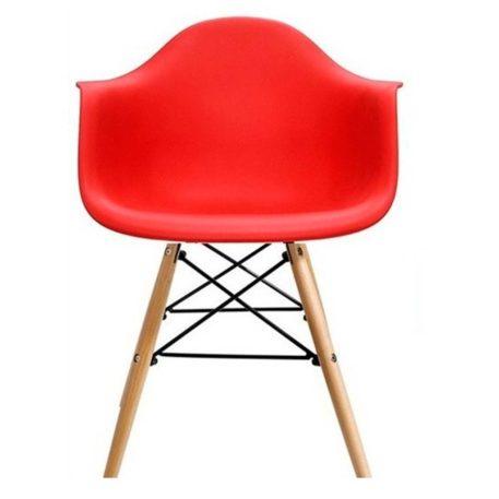 Vista frontal sillon Hércules con brazos base mixta madera metal carcasa asiento roja