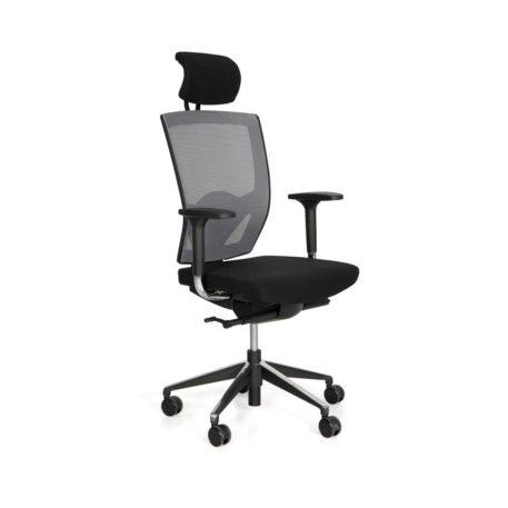 Sillón ergonómico Open, con brazos, giratorio con ruedas respaldo malla, asiento tapizado