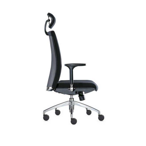 Vista lateral sillon Star giratorio respaldo alto con reposacabezas, brazo aluminio asiento respaldo tapizado simil piel