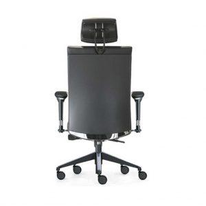 Vista trasera sillon Star giratorio respaldo alto con resposacabezas, brazo aluminio asiento respaldo tapizado simil piel