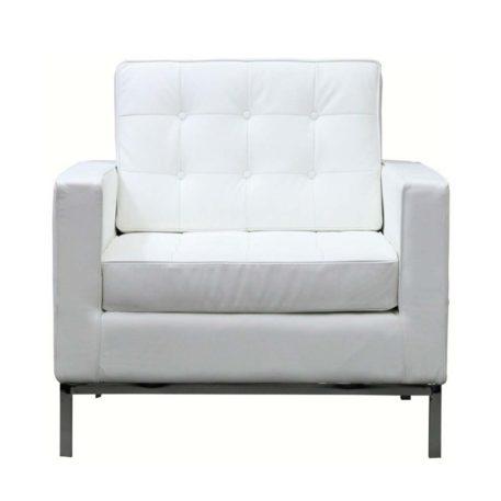 Vista frontal sillón de una plaza Flor detalle cojines y respaldo blanco