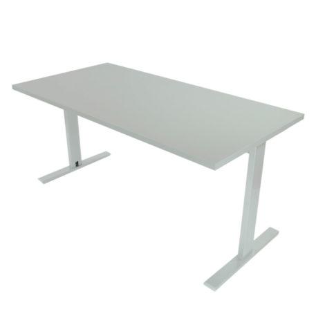 Mesa de oficina con estructura gris plata y tapa gris naval