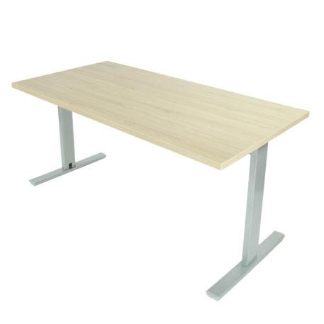 Mesa de oficina con estructura gris plata y tapa roble midas