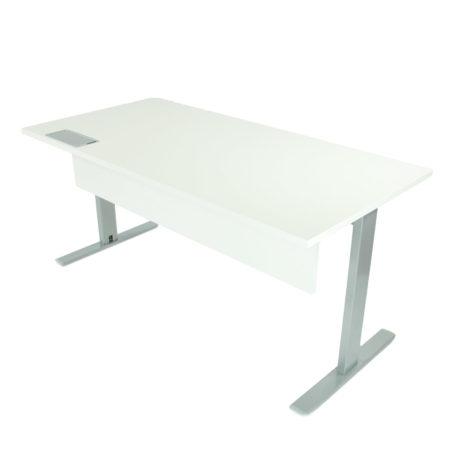mesa con Faldón modelo Kyra. Tapa blanca, faldon blanco estructura gris plata.