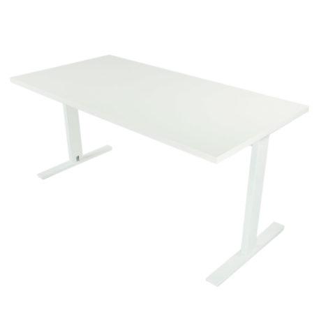 Mesa de oficina con estructura blanca y tapa blanca.