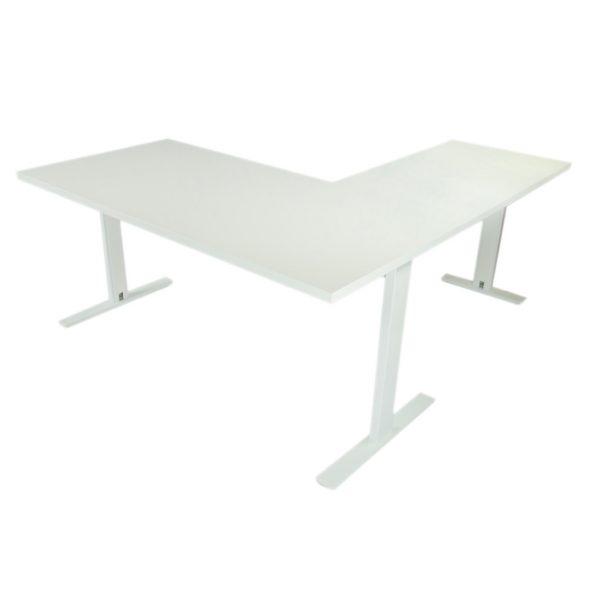 Mesa de oficina con ala, estructura blanca y tapa blanca.