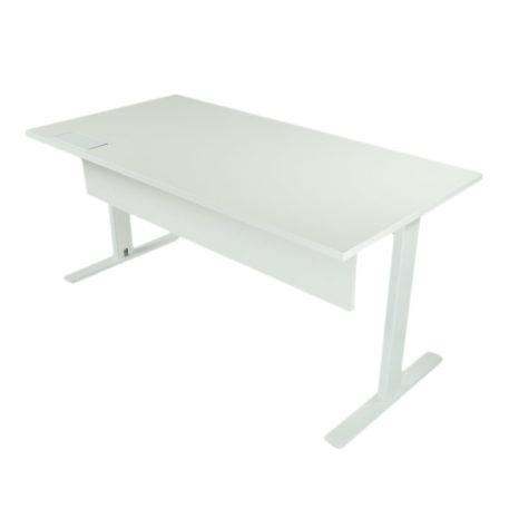 Mesa con faldón melamina blanco, con estructura blanca y tapa fresno stella.