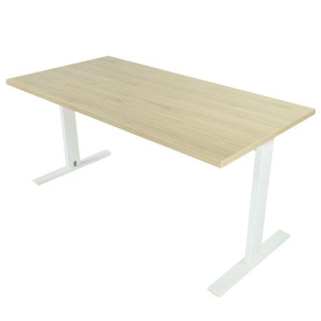 Mesa de oficina con estructura blanca y tapa roble midas.