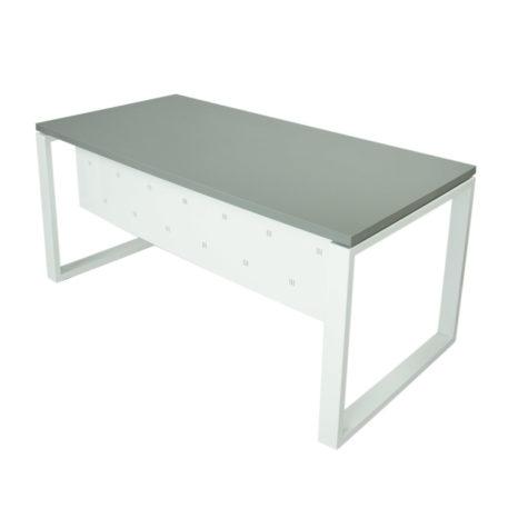 Vista mesa completa con faldón metálico level Cerrada estructura y faldón blanco y tapa gris naval.
