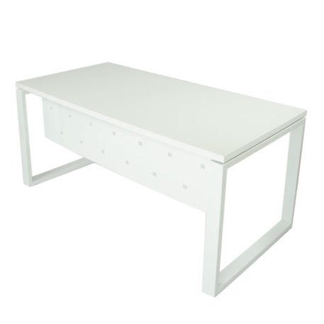 Vista mesa completa con faldón metálico level Cerrada estructura y faldón y tapa blanco