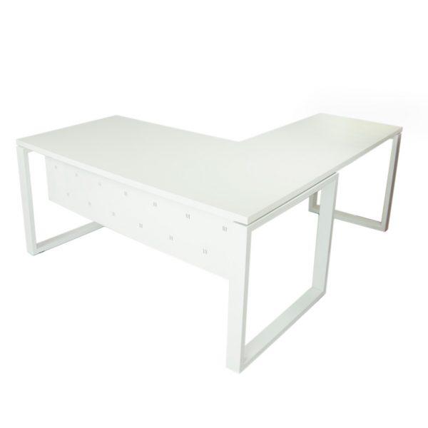 Vista mesa con ala y faldón metálico Level Cerrada estructura y faldón y tapa blanco