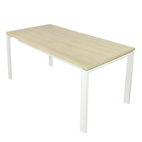 Mesa Level abierta con estructura blanca y tapa roble midas.