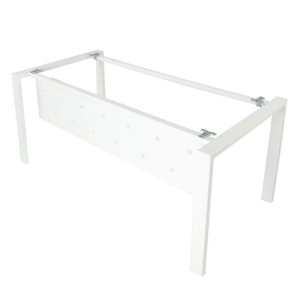 Detalle de la estructura mesa Level abierta con faldon metalico y estructura blanca