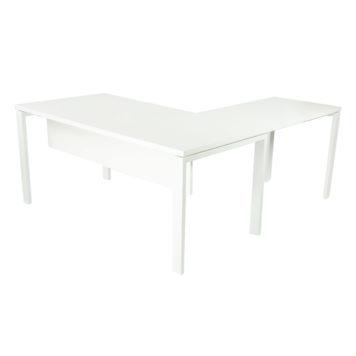 Vista de mesa completa modelo Level abierta, con ala auxiliar y faldón en melamina toda blanca.