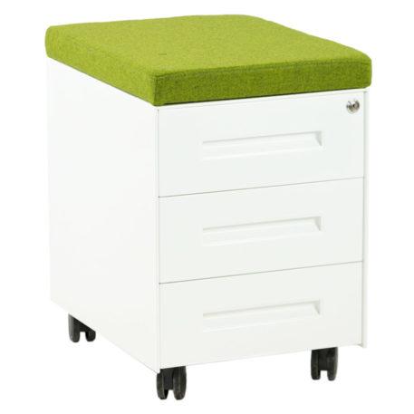 ista frontal de cajonera metálica con tres cajones blanca con cojín verde