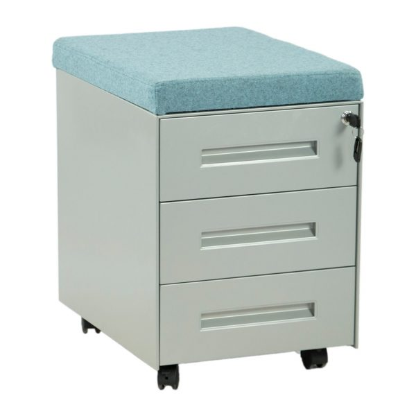 vista frontal cajonera tres cajones en gris plata con cojín azul
