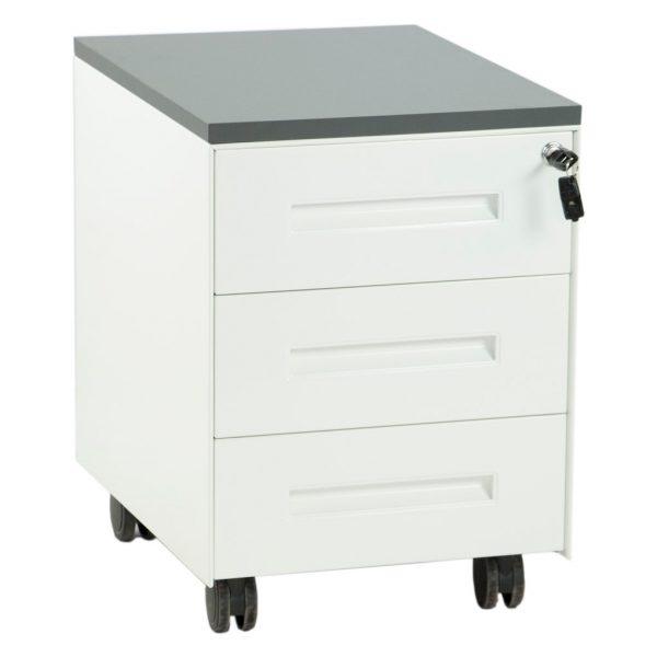 ista frontal de cajonera metálica con tres cajones blanca con tablero gris