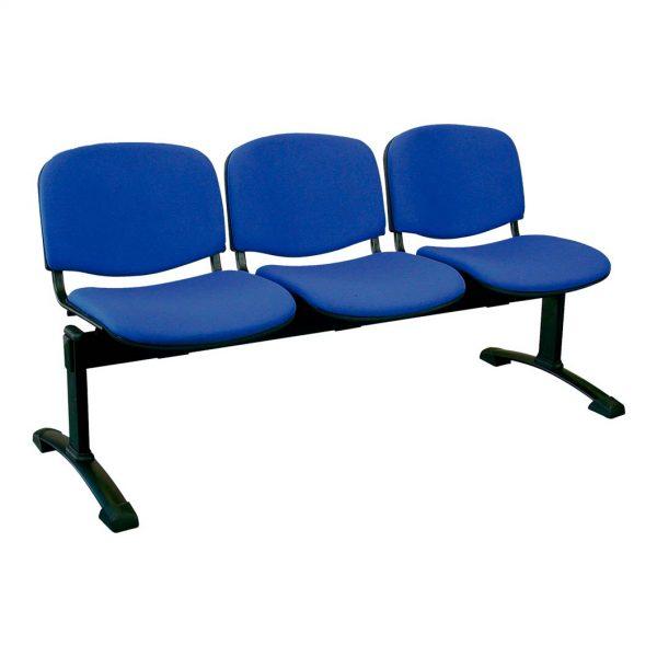 Bancada de tres plazas Futsi asientos tapizados en azul vivo, estructura negra