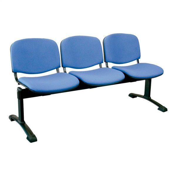 Bancada de tres plazas Futsi asientos tapizados en azul estructura negra