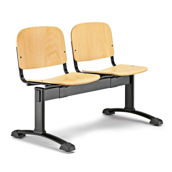 Bancada de dos plazas Futsi asientos madera contrachapada haya color natural estructura negra