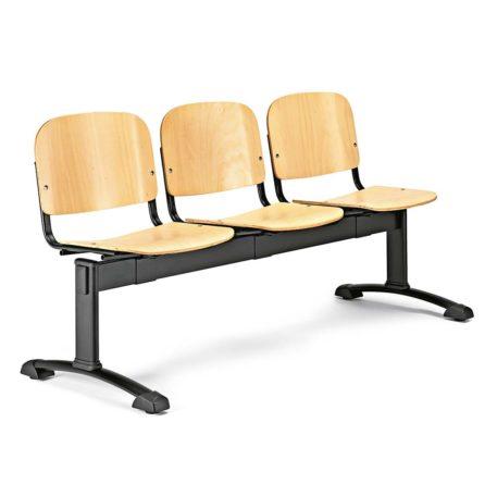 Bancada de tres plazas Futsi asientos madera contrachapada haya color natural estructura negra