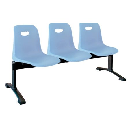 vista bancada Vela tres asientos color azul sobre estructura metálica negra