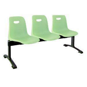 ista bancada Vela tres asientos color verde sobre estructura metálica negra
