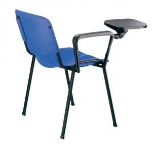 ista silla asiento y respaldo plastico color azul pala en plástico negro y patas negras