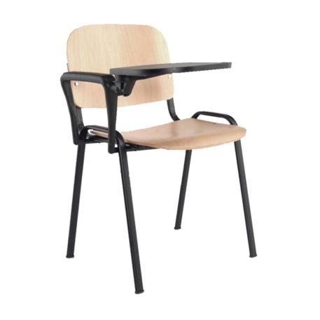 Vista silla asiento y respaldo en madera contrachapada pala enmadera contrachapada y patas negras
