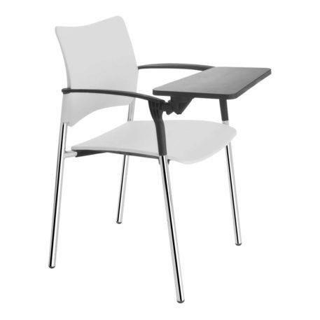 vista lateral con detalle pala silla urban con pala asiento y respaldo plastico blanco