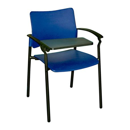 vista frontal silla urban con pala asiento y respaldo plastico azul