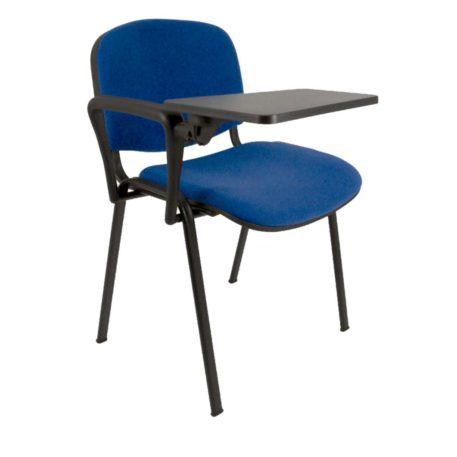 Vista silla asiento y respaldo tapizado color azul pala en plástico