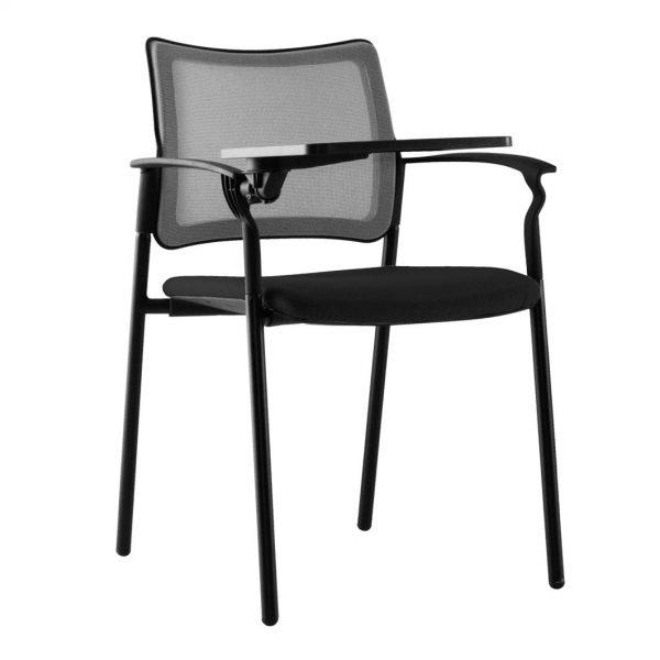 vista frontal silla urban con pala asiento tapizado negro y respaldo red negra
