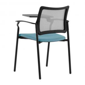vista posterior silla urban con pala asiento tapizado azul y respaldo red negra