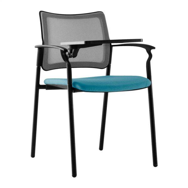 vista frontal silla urban con pala asiento tapizado azul y respaldo red negra