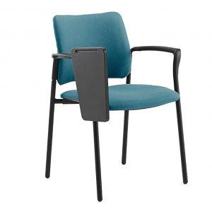 vista frontal silla urban cuatro patas con brazos y pala abatida. tapizada en asiento y respaldo
