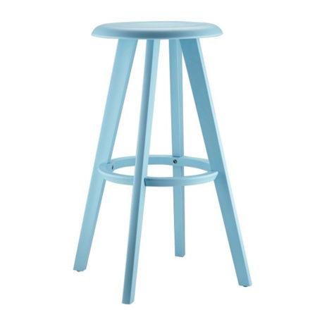 taburete alto cesar con reposapie todo en color azul turquesa.