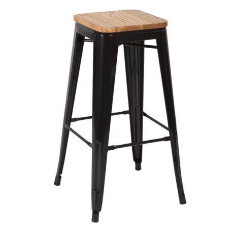 Taburete alto Toly metal negro asiento madera con reposapiés.