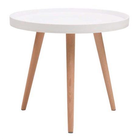 mesa baja auxiliar madera y blanca. diámetro 50 cm.