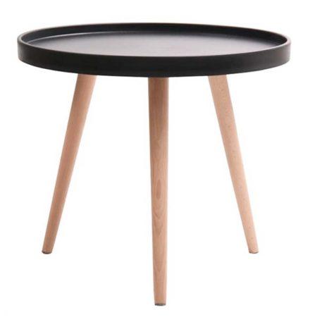 mesa baja auxiliar madera y negra. diámetro 50 cm.