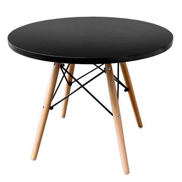 mesa baja estructura mixta madera y metal tablero negro.