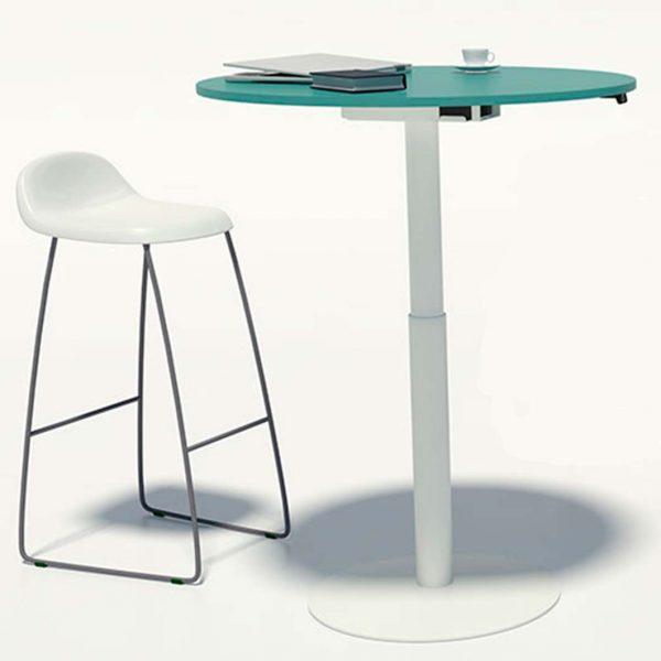 mesa redonda elevable en altura metal y laminado.